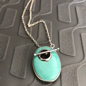 Jewelry - Sterling silver turquoise bar toggle necklace